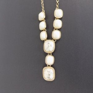 Monet Goldtone Off White Stone Y Necklace NEW